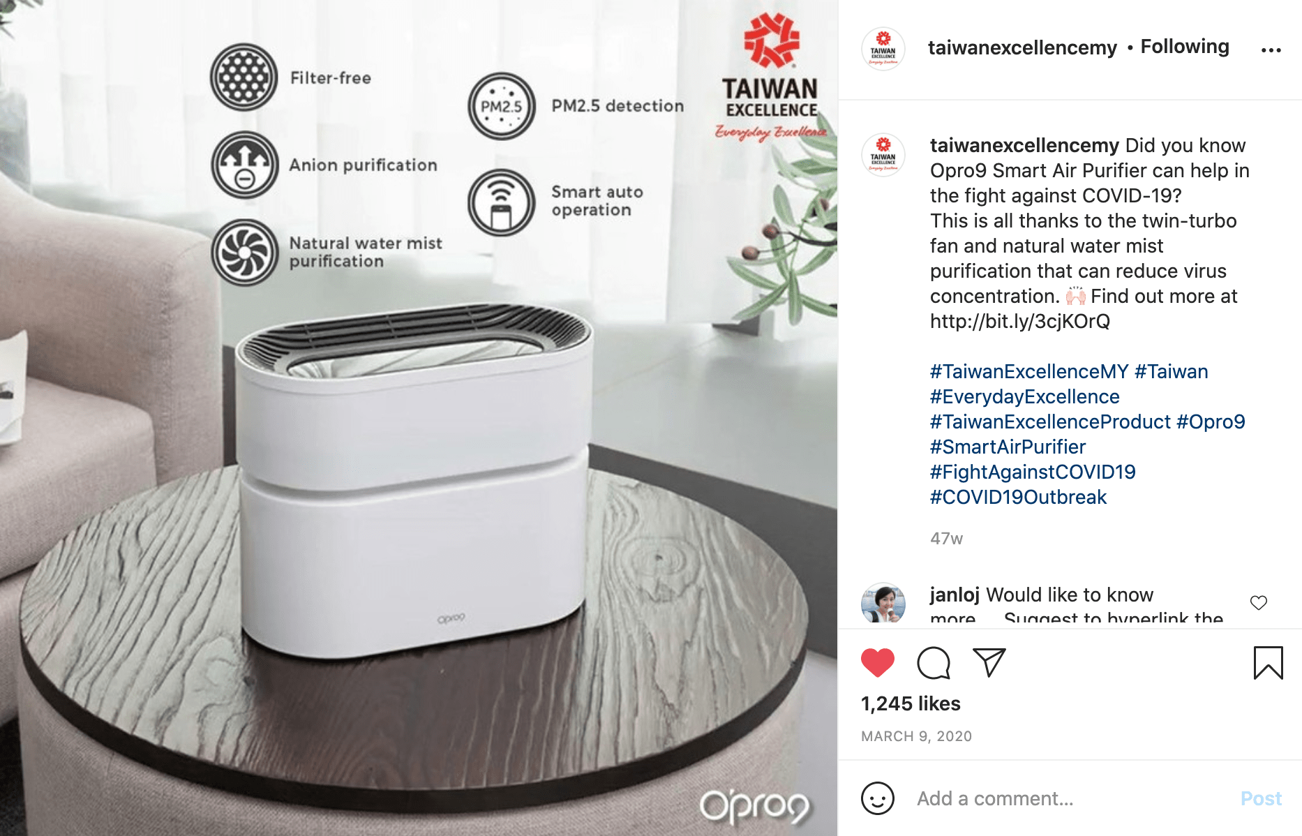 Taiwan Excellence - Opro9 Smart Air Purifier Instagram Post