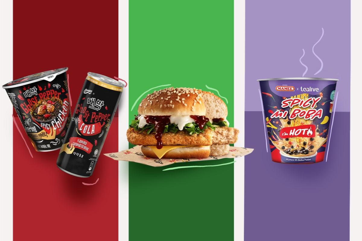 KFC's Zero Chicken Burger, Daebak's Ghost Pepper Cola, and Tealive's Spicy Mi Boba